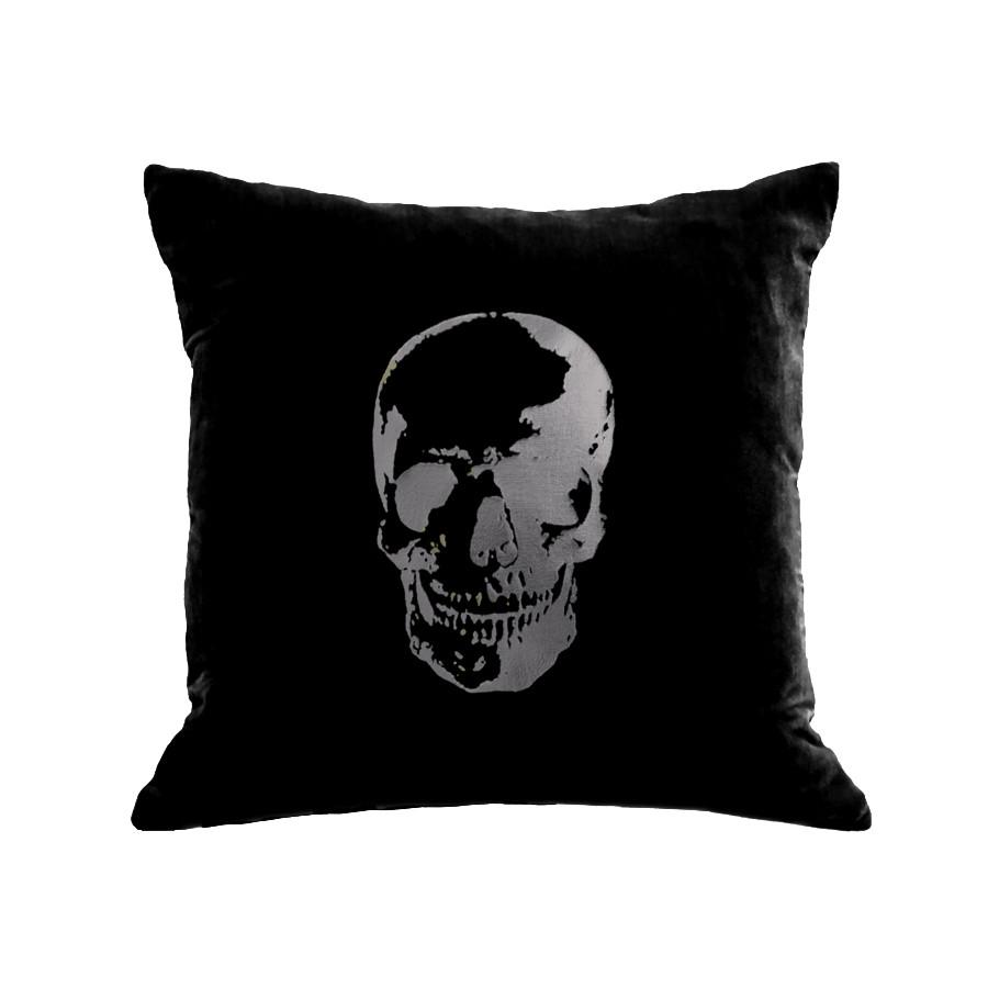 Skull Pillow Silver & Black Velvet - Magnolia Jewels & More