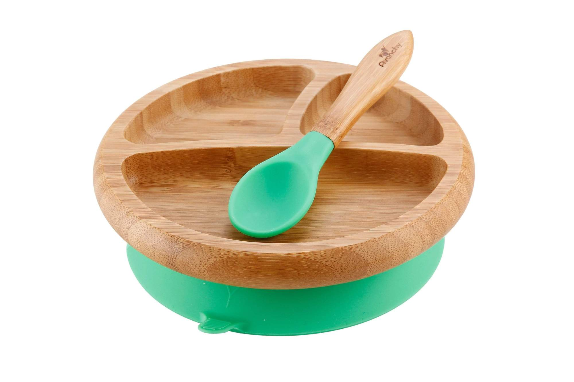 Organic Bamboo Suction Baby Plate + Spoon - Magnolia Jewels & More