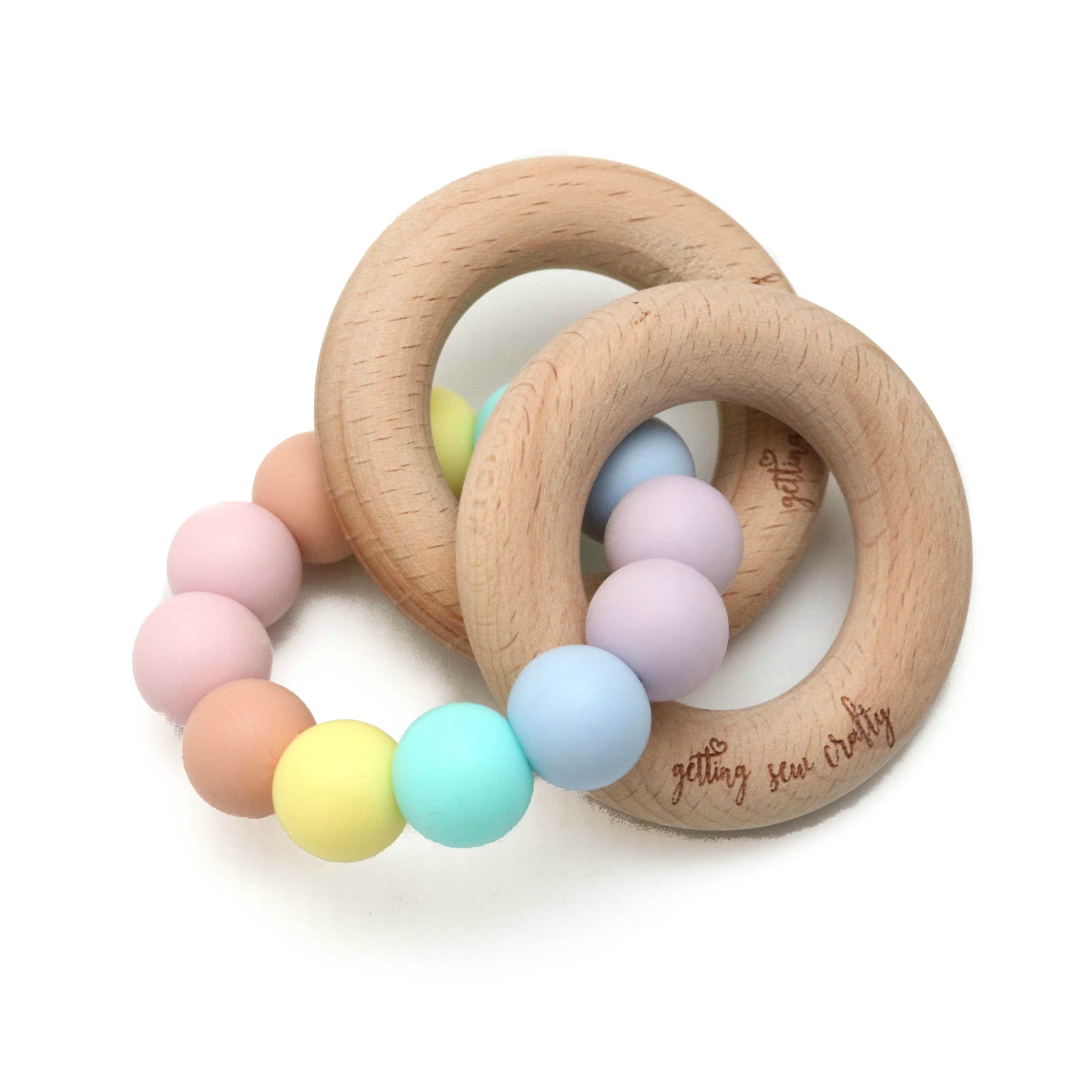 Getting Sew Crafty - Teething Toy - Pastel Rainbow - Silicone + Wood