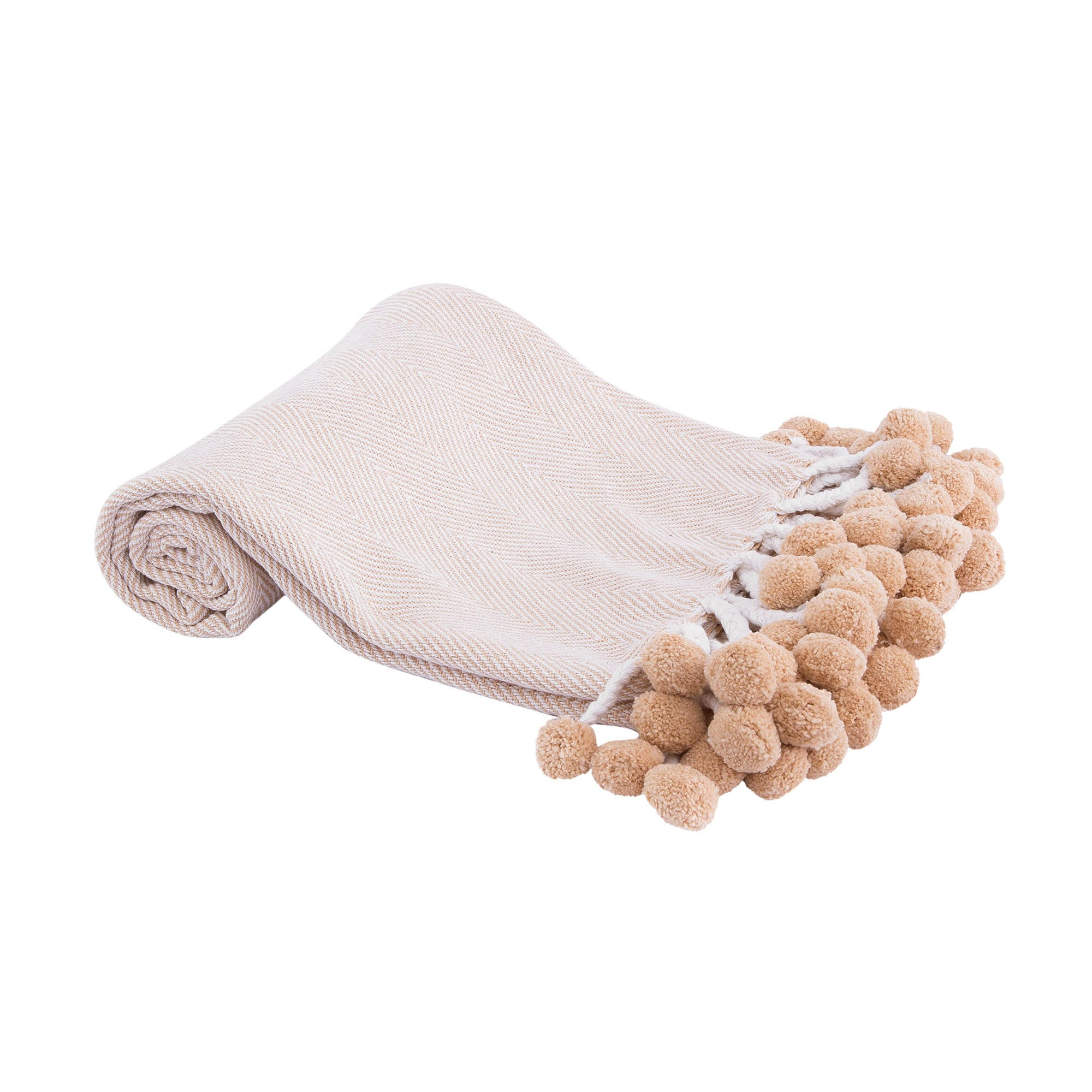 Pom Pom Throw Beige - Magnolia Jewels & More