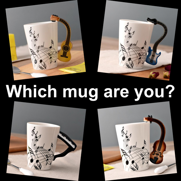 Ceramic Musical Mug with Instrument Montage