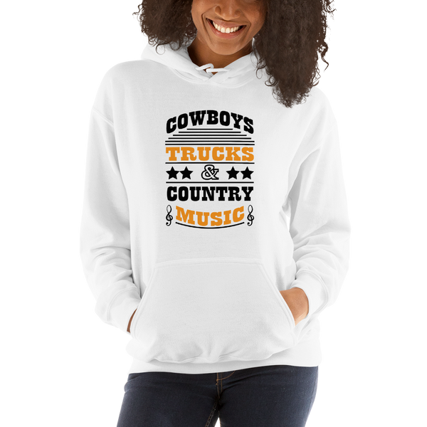 Cowboys Trucks & Country Music - Unisex Hoodie - White