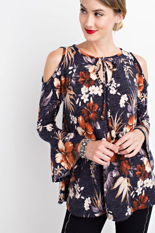 Navy Flower Print Cold Shoulder Tunic