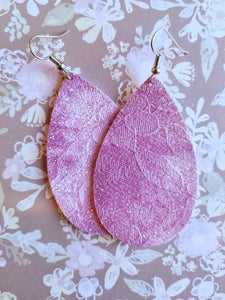 Lace Faux Leather Earrings - Nastiya