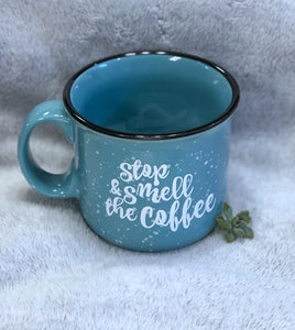 Stop and Smell The Coffee Ceramic Campfire Style Speckled Coffee Mug - Nastiya