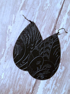 Black Tooled Leather Earrings - Nastiya