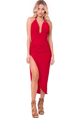 Open Back Midi Dress With Side Slit