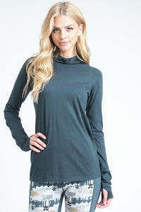 Teal Blue Thumb Hole Hoodie Top - Nastiya
