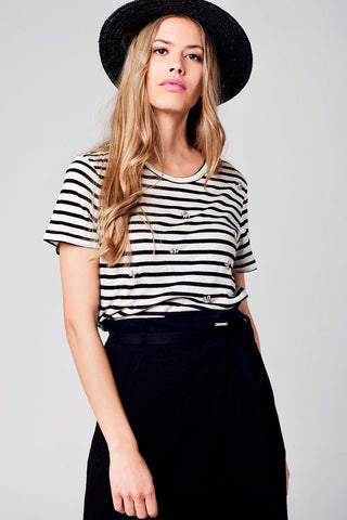 Black Striped T-shirt With Rhinestone Details