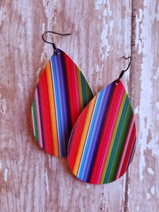 Serape Faux Leather Earrings - Nastiya