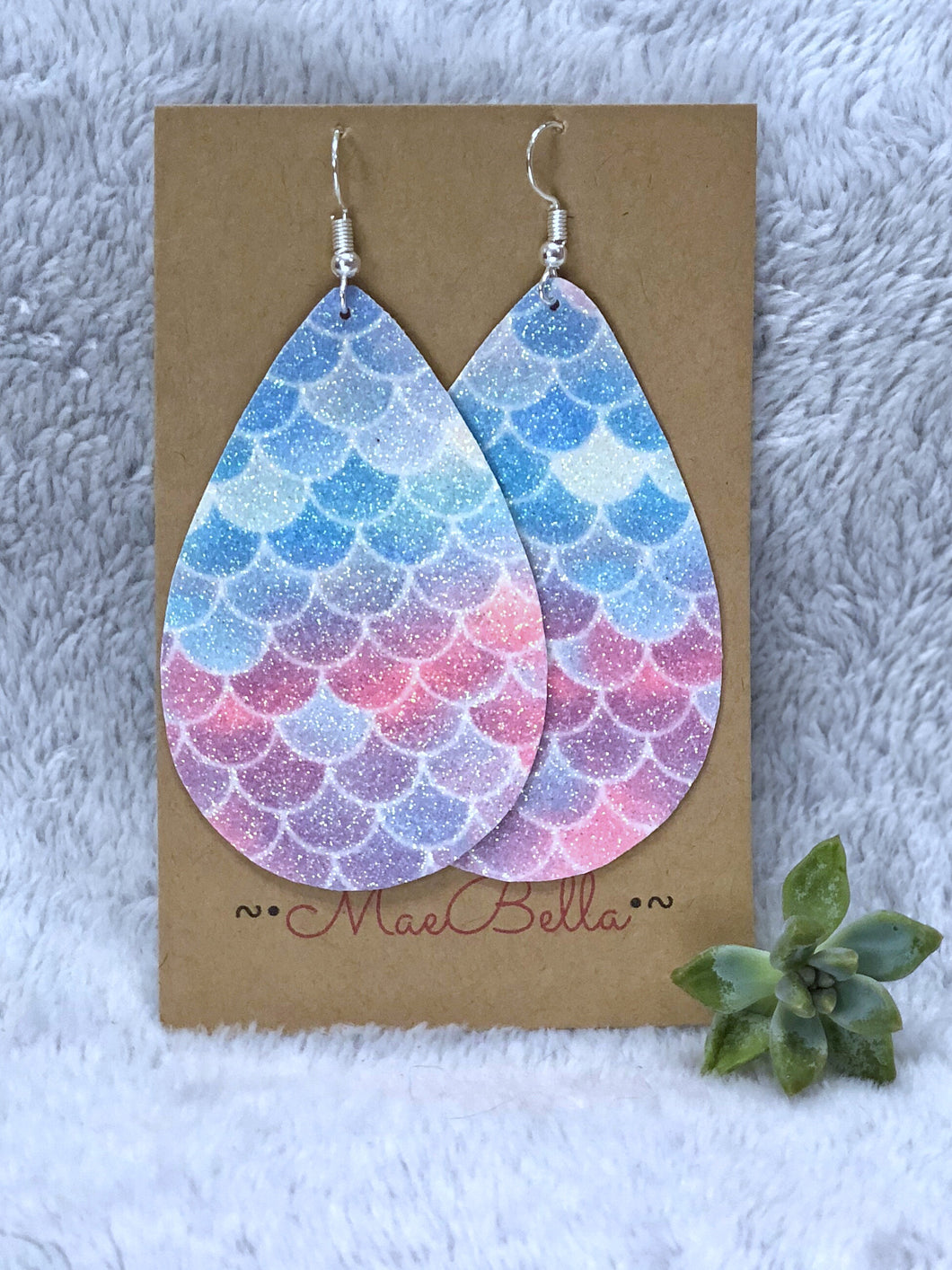 Mermaid Sparkle Faux Leather Earrings - Nastiya