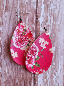 Dark Coral Floral Faux Leather Earrings - Nastiya