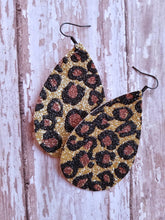 Animal Print Glitter Faux Leather Earrings - Nastiya