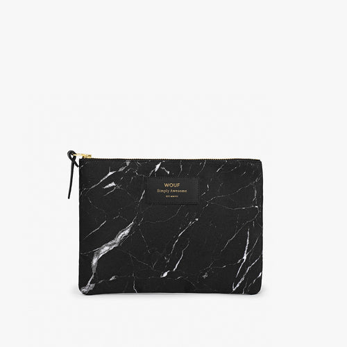 Large Pouch Black Marble
