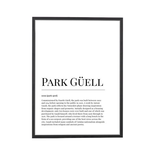 Park Guell Dictionary Art Print