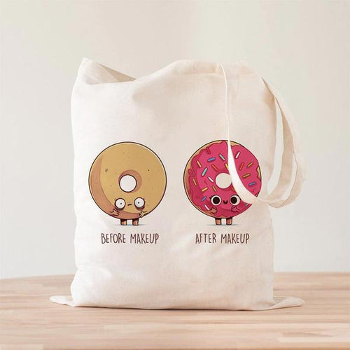 Before After Makeup Donut Tote Bag