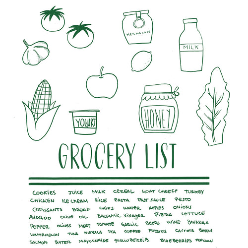 LNC33 Grocery List Tote Bag
