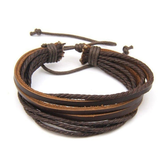 100% Hand-Woven Leather Bracelet with Braided Rope - Brown-Bracelet-UAE LEATHERS