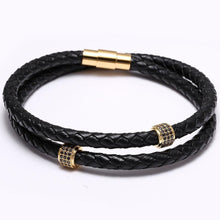 Load image into Gallery viewer, Black leather bracelet with magnet clasp-Bracelet-UAE LEATHERS
