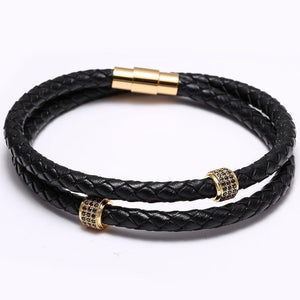 Black leather bracelet with magnet clasp-Bracelet-UAE LEATHERS