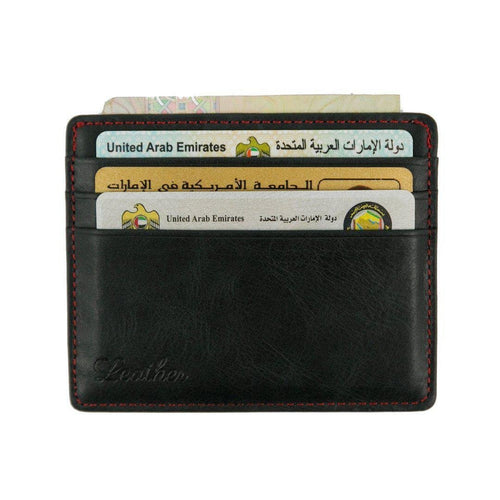 Black - Slim Card Holder - Six cards-Wallet-UAE LEATHERS