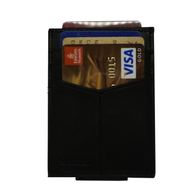 Black - Slim Card Holder with Money Clip 1-Wallet-UAE LEATHERS