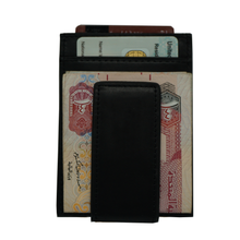 Load image into Gallery viewer, Black - Slim Card Holder with Money Clip 1-Wallet-UAE LEATHERS