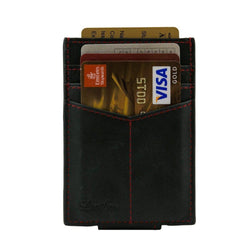 Black - Slim Card Holder with Money Clip-Wallet-UAE LEATHERS