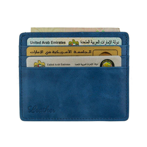 Blue - Slim Card Holder - Six cards-Wallet-UAE LEATHERS