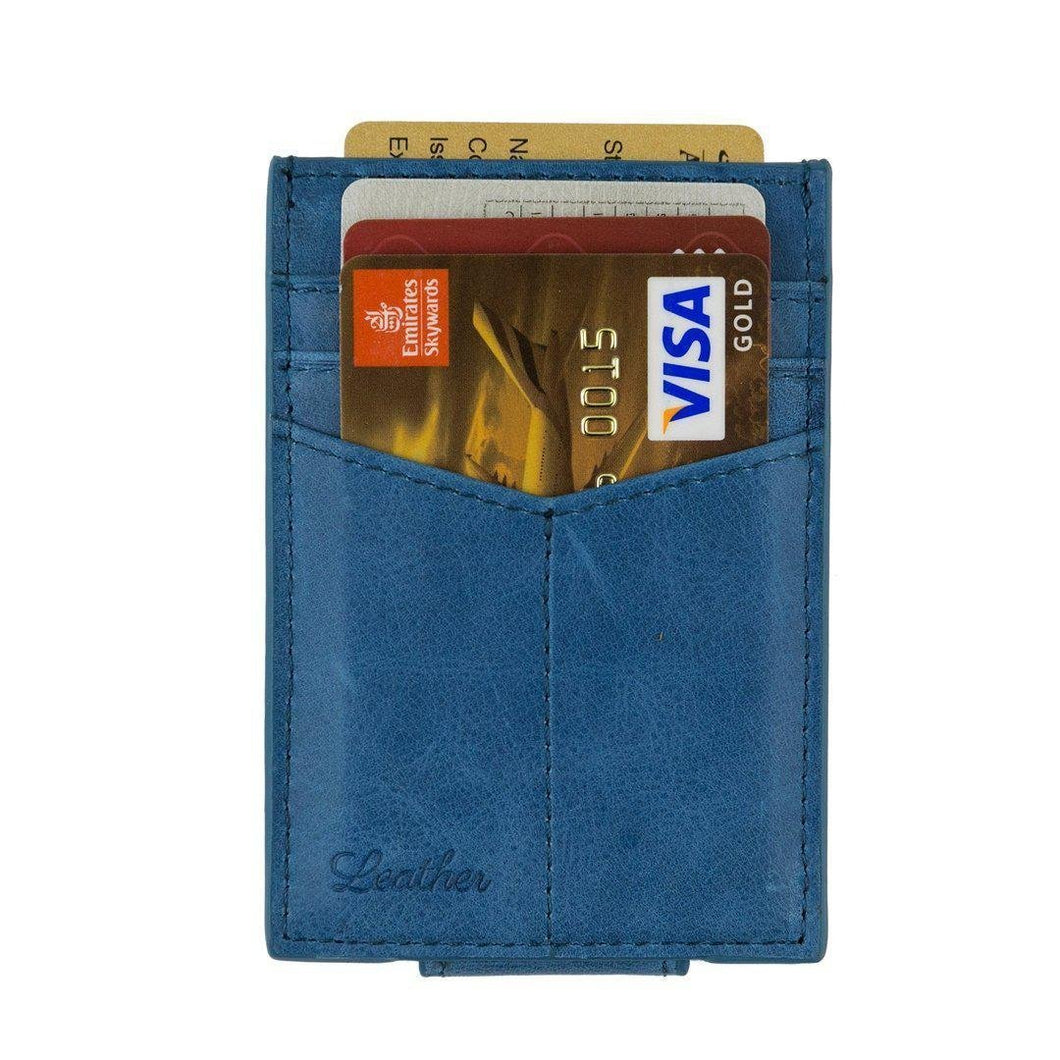 Blue - Slim Card Holder with Money Clip-Wallet-UAE LEATHERS