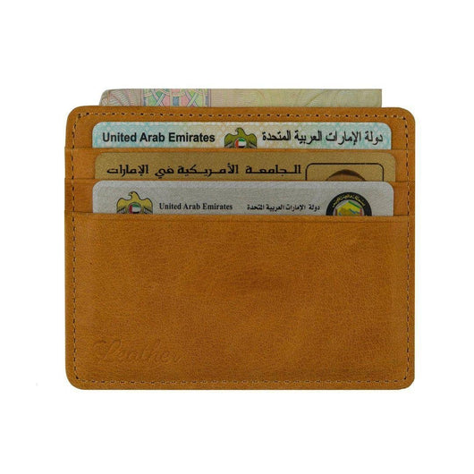 Brown - Slim Card Holder - Six cards-Wallet-UAE LEATHERS