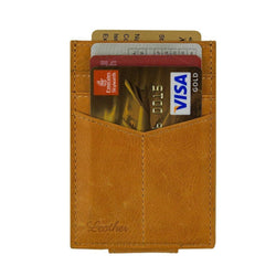 Brown - Slim Card Holder with Money Clip-Wallet-UAE LEATHERS