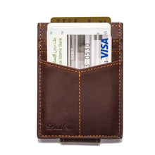 Load image into Gallery viewer, Dark Brown - Slim Card Holder with Money Clip-Wallet-UAE LEATHERS