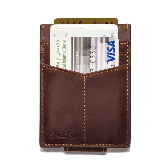 Dark Brown - Slim Card Holder with Money Clip-Wallet-UAE LEATHERS