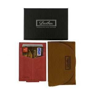Pink - Slim Card Holder with Money Clip-Wallet-UAE LEATHERS