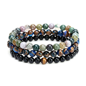 Three bracelet set natural agate stone bracelet-Bracelet-UAE LEATHERS