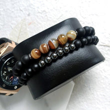 Load image into Gallery viewer, Two Bead bracelet pulseras masculina-Bracelet-UAE LEATHERS