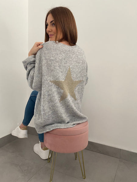 Star Back V Hi Low Neck Jumper - Grey