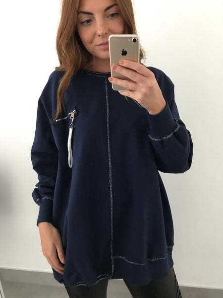 Zip Pocket Sweatshirt - Navy