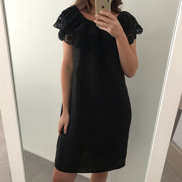 Embroidery Frill Linen Dress - Black