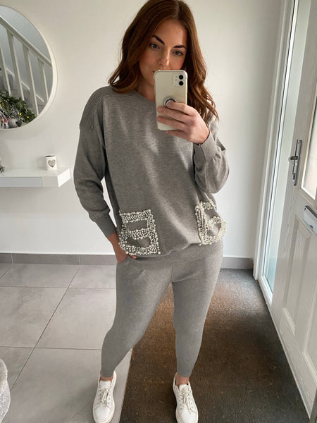 Pearl Pocket Knitted Tracksuit - Grey