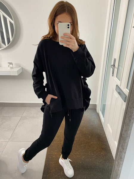 Ruffle Split Side Tracksuit - Black