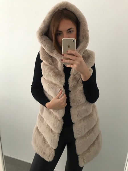 Faux Fur Hooded Gilet - Beige