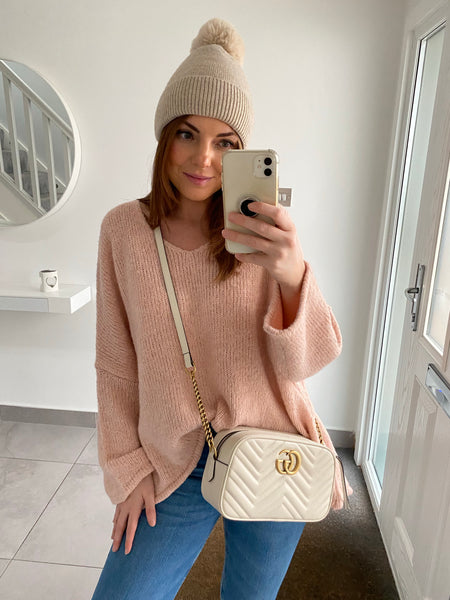 Star Back V Hi Low Neck Jumper - Pink