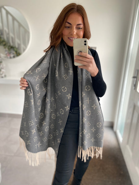 Diamond Print Scarf - Grey
