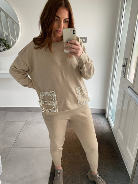 Pearl Pocket Knitted Tracksuit - Beige