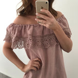 Embroidery Frill Linen Dress - Blush Pink
