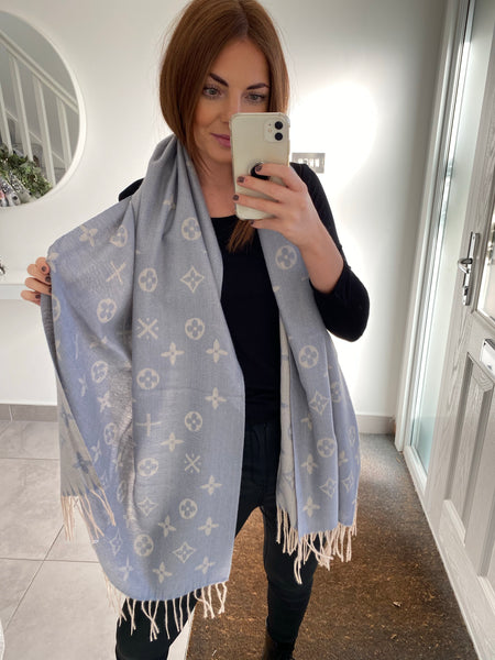 Diamond Print Scarf - Blue
