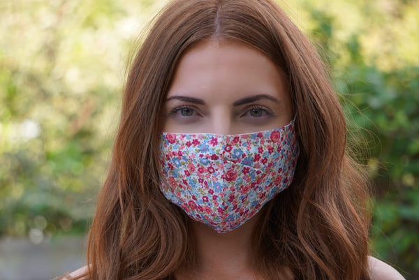 Floral Print Adjustable Cotton Face Mask (Blue & Pink)