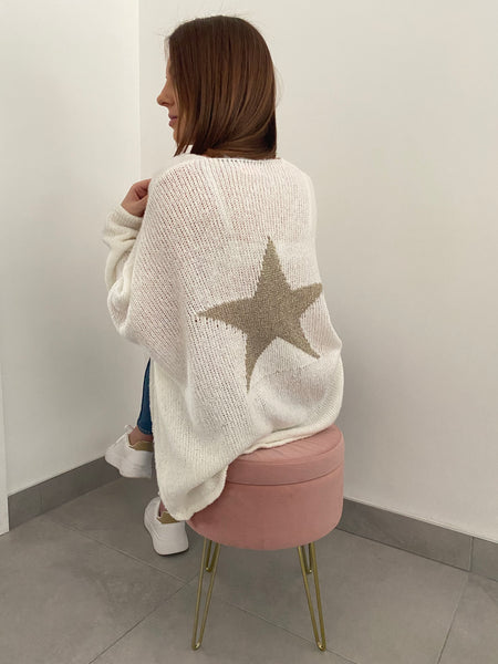 Star Back V Hi Low Neck Jumper - White